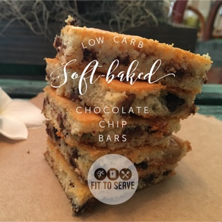 low carb soft baked chocolate chip bars